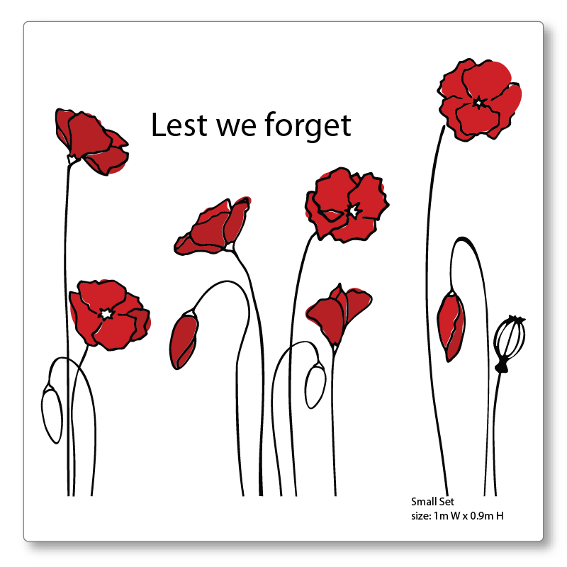 Poppies wall or window decal SMALL set for Anzac