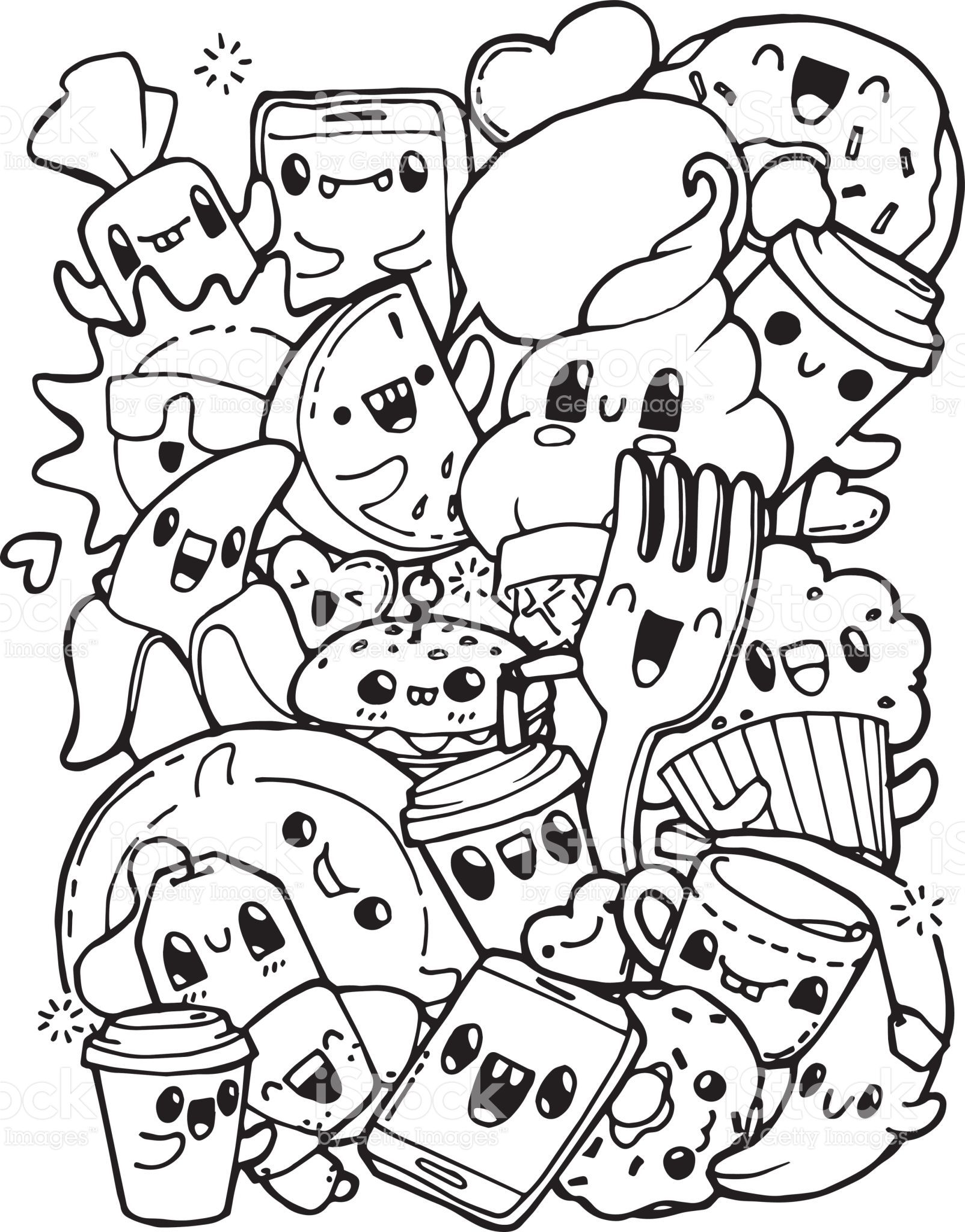 Dining Doodles Breakfast Lunch Dinner Food Coloring Pages For Cute Doodle Art Doodle Coloring Cute Coloring Pages
