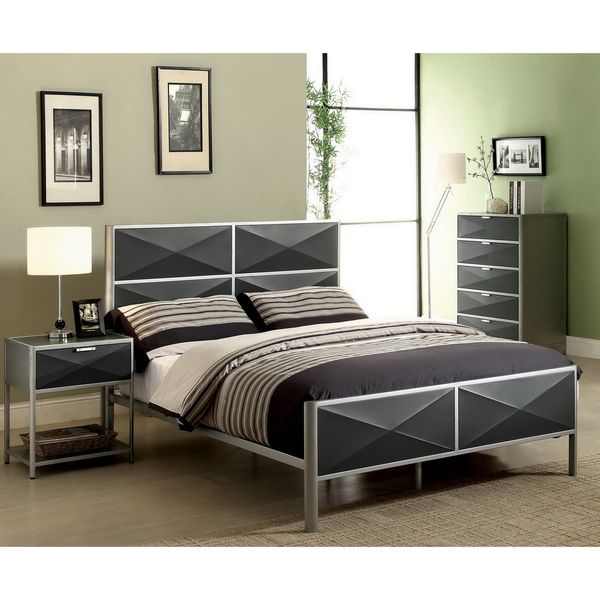 Awesome Furniture Of America Zillo 2 Piece Contemporary Two Tone Metal Bedroom Set