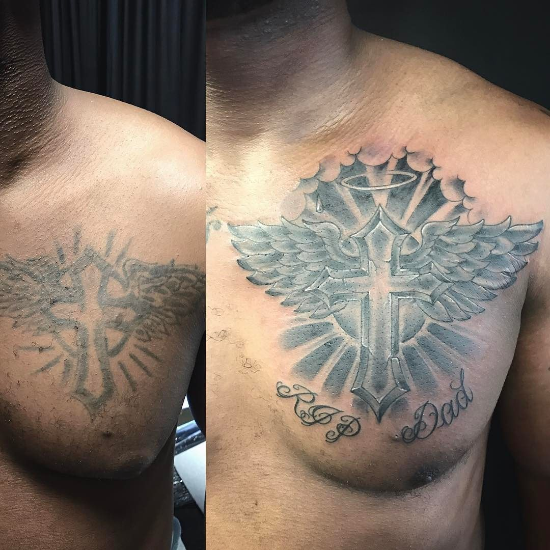 Before and after chest tattoo recovery fix up or cover up for Cross tattoos with clouds