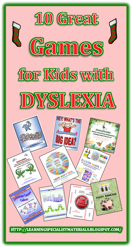 Great Games for Students with Dyslexia Come learn about 10 Great games for kids with dyslexia.  You can even get a free sample game!Come learn about 10 Great games for kids with dyslexia.  You can even get a free sample game!