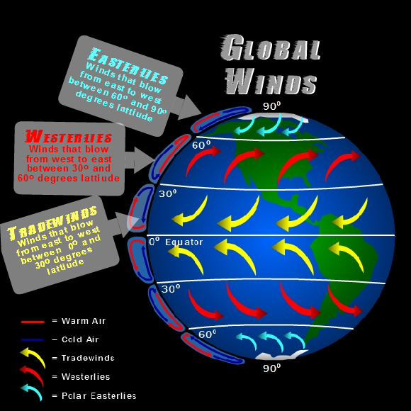 Global Winds Earth Science Pinterest