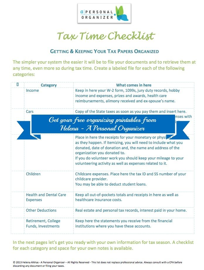 Are You Ready For Taxes Use These 9 Pages Checklist To Get Your