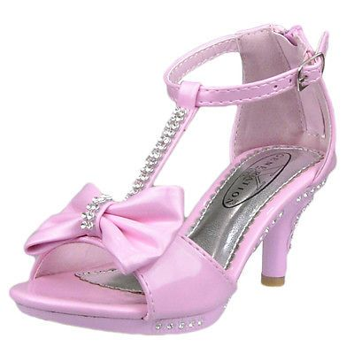 a9d05712c0 Girl's Evening T Strap Bow Rhinestone High Heel Sandals Pink Kids Size 10 4  | eBay