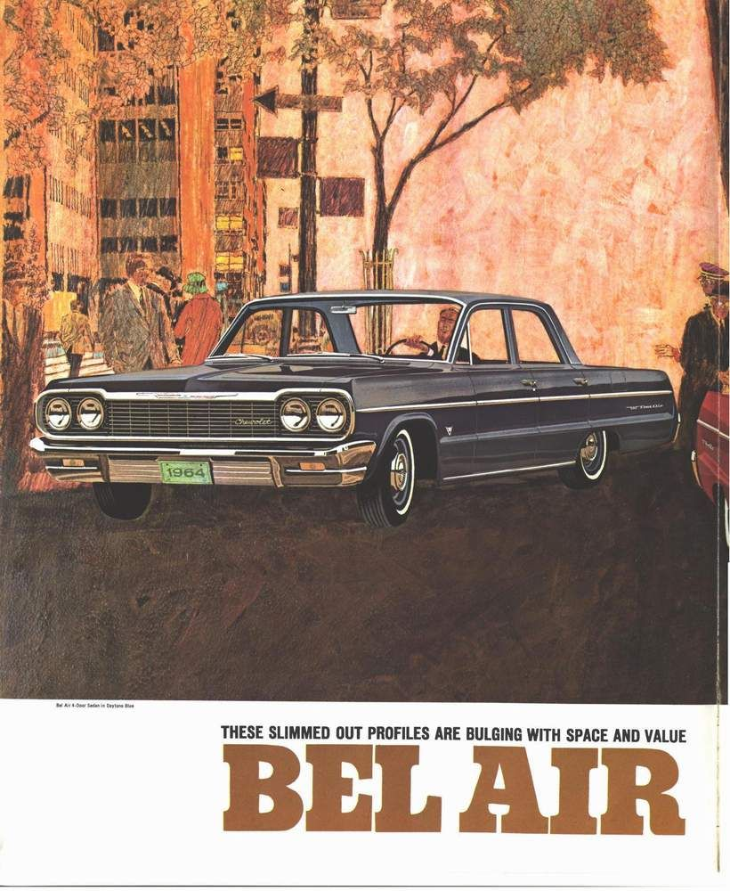 1964 Chevrolet Bel Air Four Door Sedan Autos Afiches Publicidad