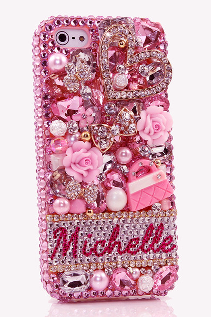 The Pink Purse Personalized Name   Initials iPhone 5C 5S bling cases cool  phone accessories for girls d9f2f6aeb826