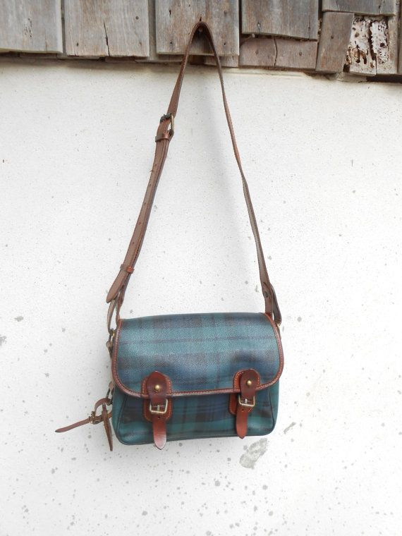 d3d1e33aa29 Vintage Leather Bag POLO RALPH LAUREN Blackwatch Leather Messenger Bag  Leather Crossbody Bag Leathe Purse  Medium   Authentic   Gift for Her