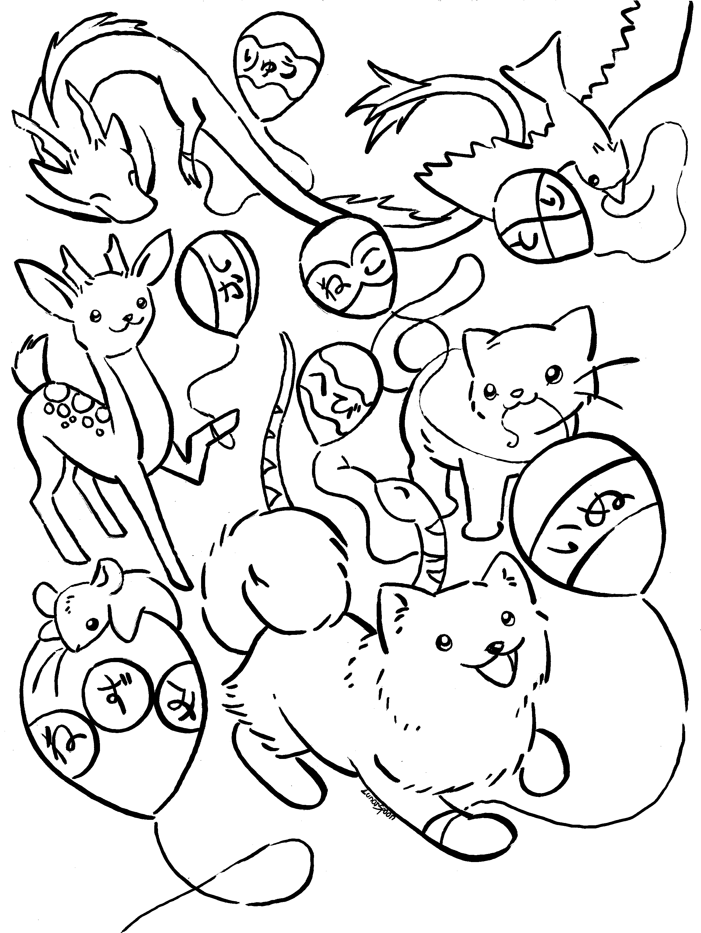 Japanese Animals Coloring Page Lunarspoon Deviantart