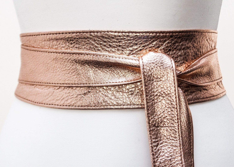 Gold Leather handmade obi wrap belts