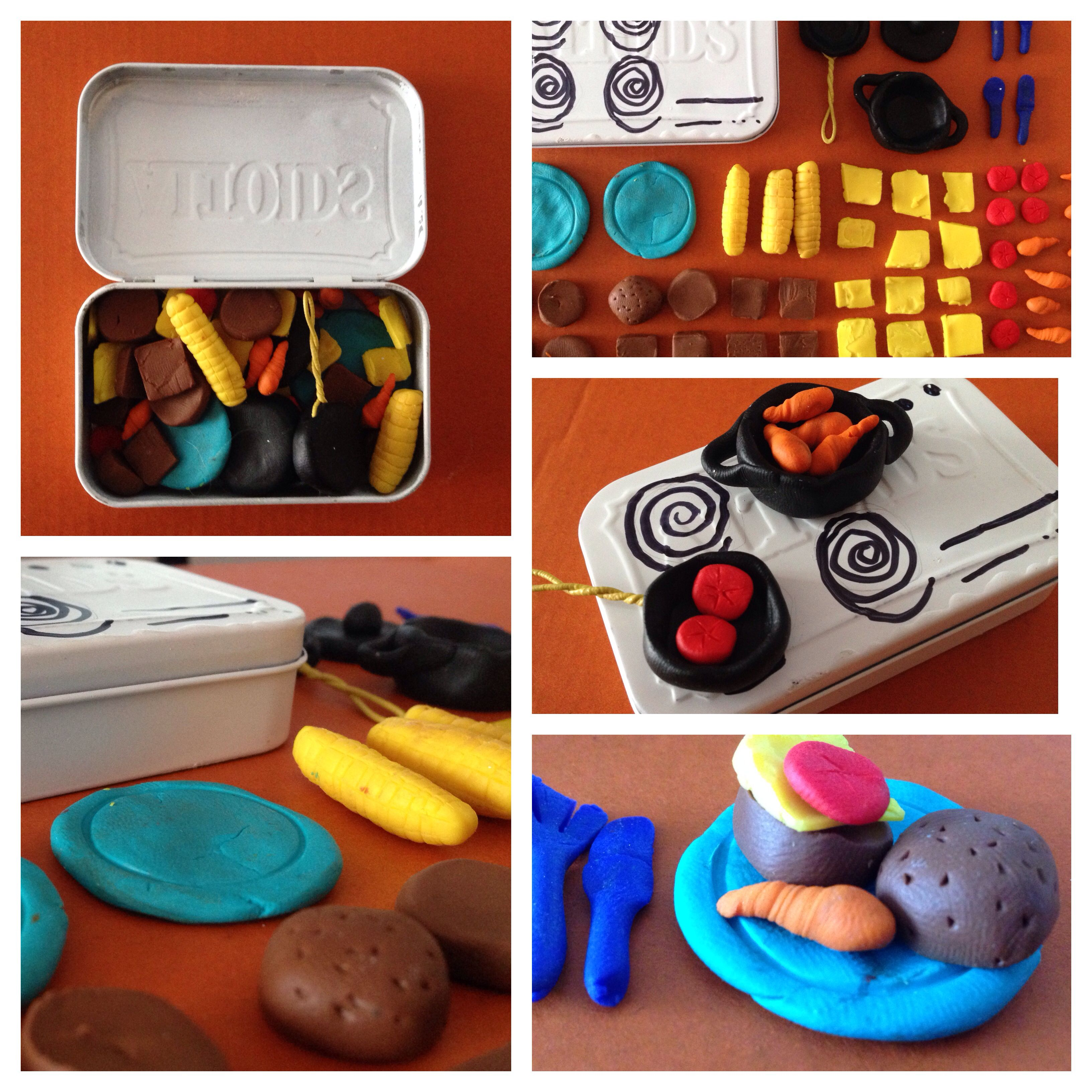 DIY portable kids kitchen set. 1x Altoids Tin and some FIMO clay ...