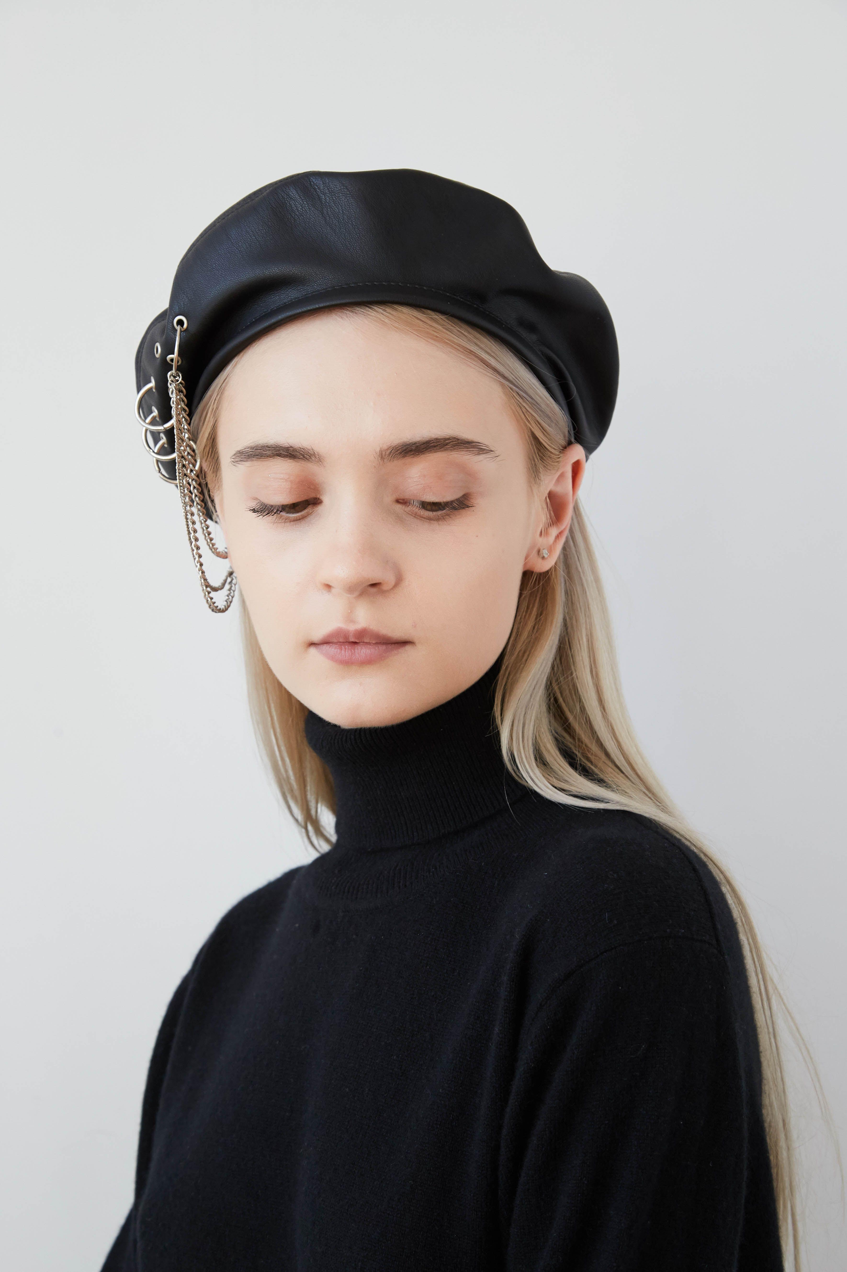 7acd05823af9e EVA Black eco leather beret with eyelets
