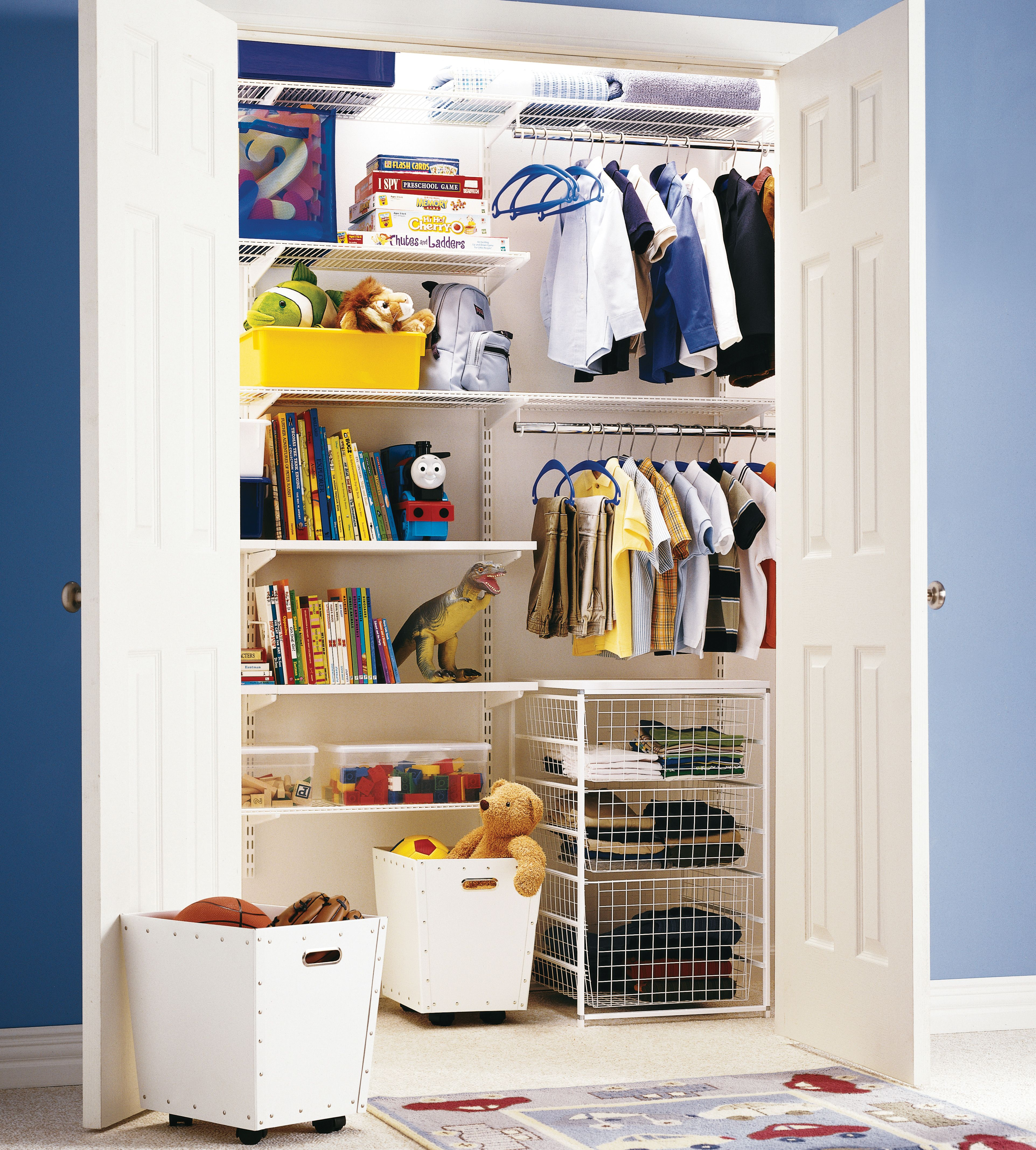 The Container Store U003e White Elfa Kidsu0027 Reach In Closet  Like It, But I  Would Want Two Sets Of Drawers On Floor