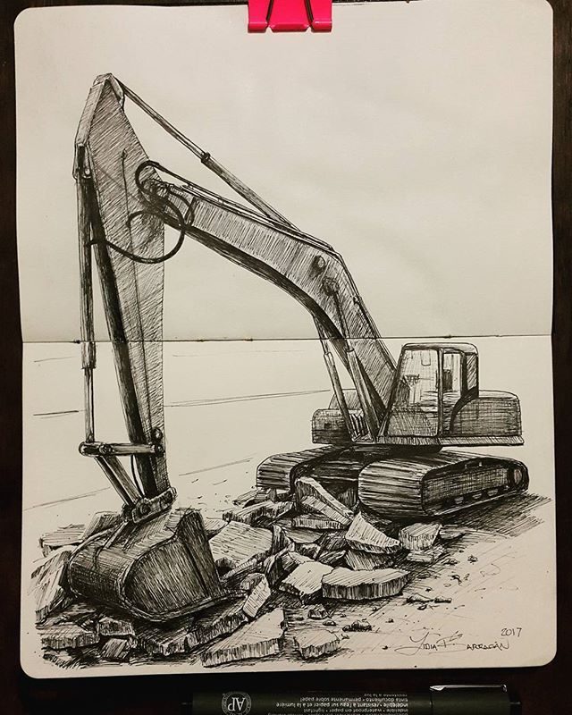 Sketch Excavator Excavating Digging Heavymachinery Moleskine Urbansketch Urbansketchers Dibujo Palamecanica Truck Art Country Art Art