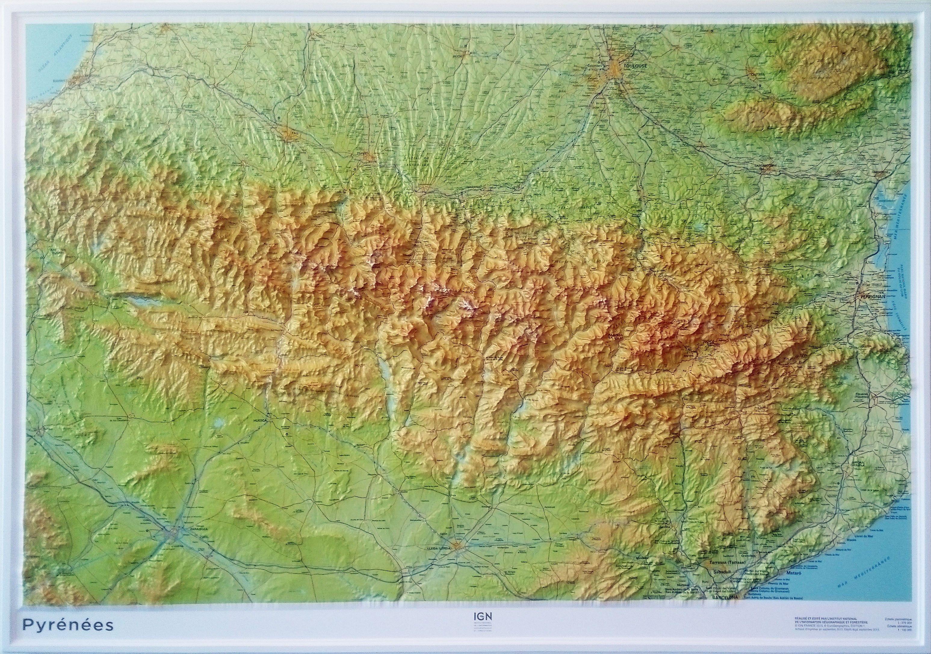 Pyrenees Carte En Relief Carte Relief Pyrenees Relief