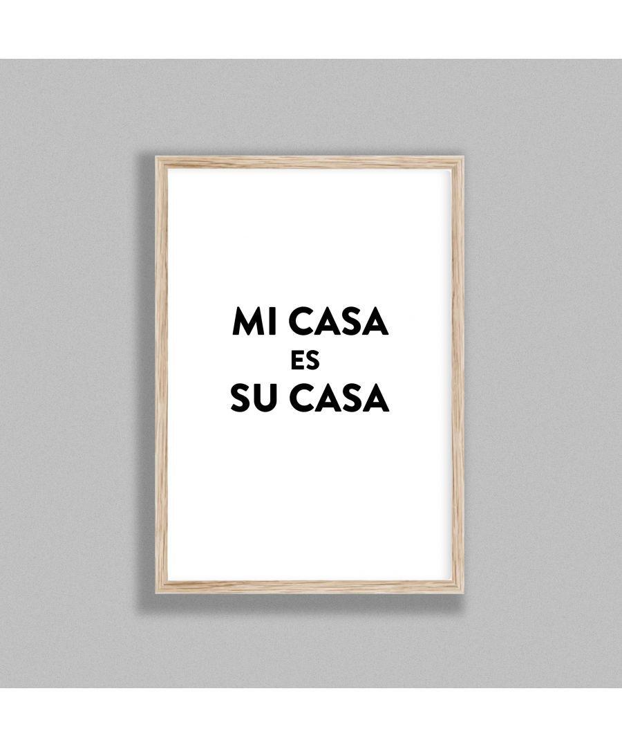Gallery Print & Art Typography Mi Casa v4 Bl on W - Oak Frame Wood - One Size