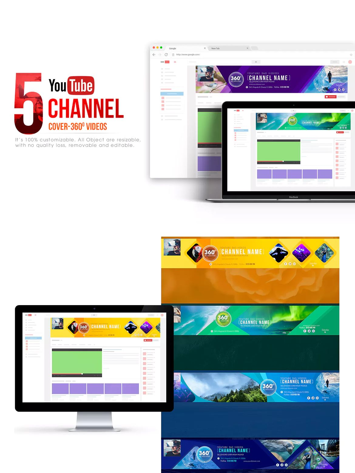 360 Video Channel - Youtube Banner Template PSD | Youtube Banner ...