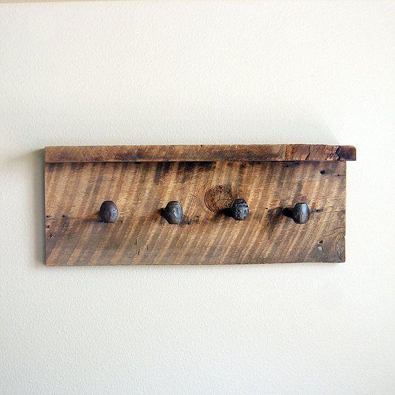 reclaimed wood coat rack with shelf rustic wall hanger. Black Bedroom Furniture Sets. Home Design Ideas