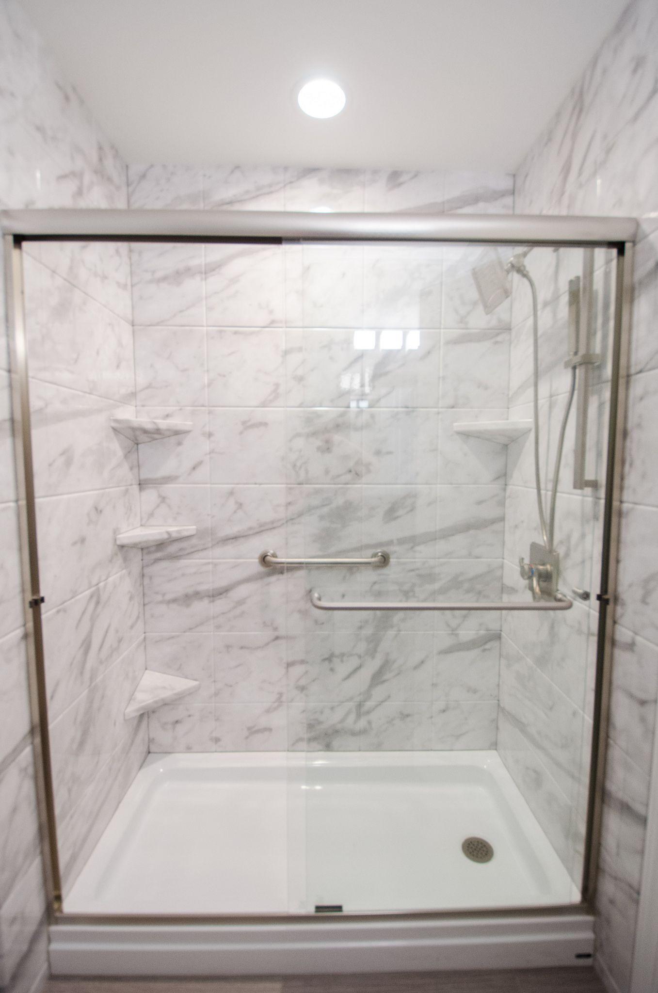 Tub and Shower Combo   Tile Wall Surround   Shower Shelves   Glass Shower    OversizedRH849   After 0105   Sliding glass door  Glass doors and Tubs. Tub Shower Combo Glass Doors. Home Design Ideas
