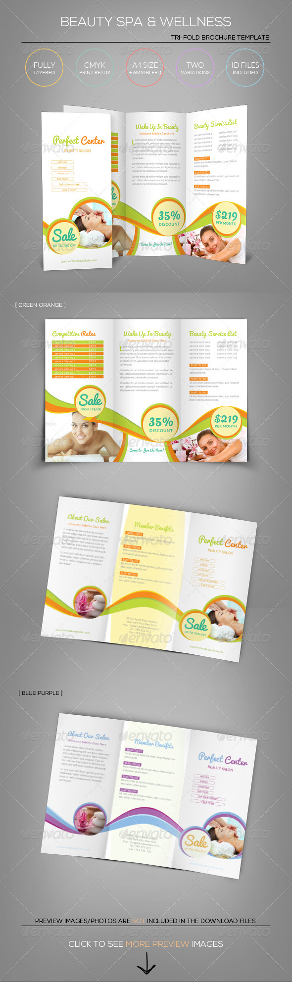 Beauty Spa  Wellness  TriFold Brochure Template  Tri Fold