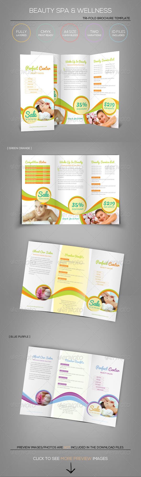 Beauty spa wellness tri fold brochure template tri for Beauty brochure templates