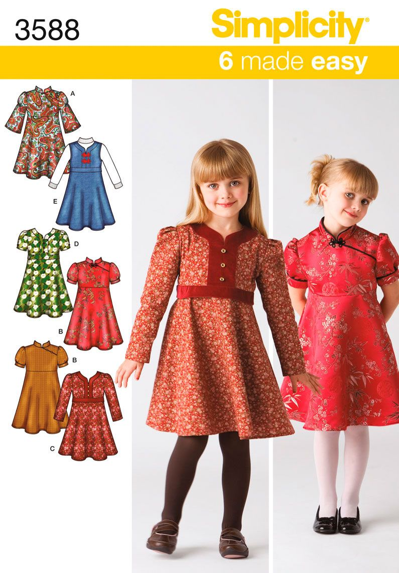 Simplicity 3588 chinese dress sew many possibilities girls dress or jumper simplicity 3588 sewing pattern jeuxipadfo Image collections