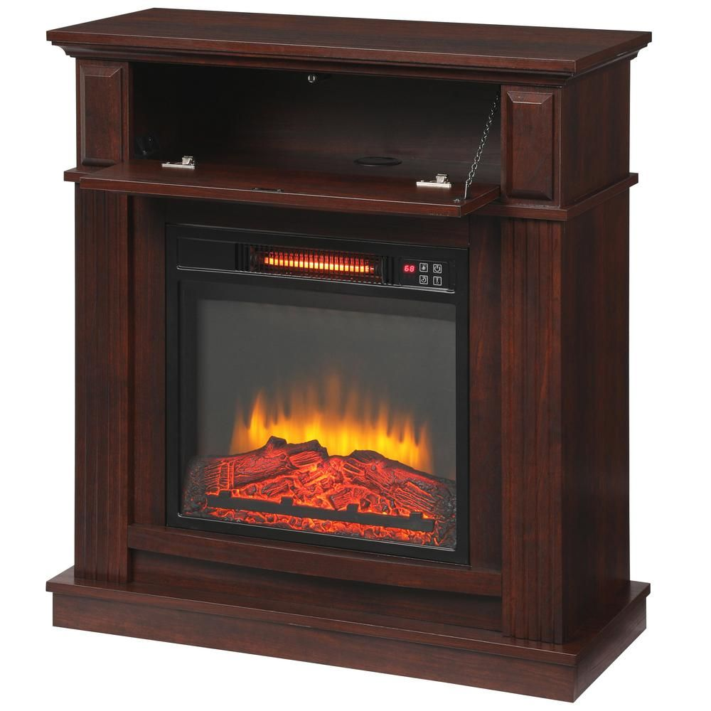 Hampton Bay Albury 31 In Freestanding Compact Infrared Electric Fireplace In Cherry In 2020 Electric Fireplace Fireplace Freestanding Fireplace