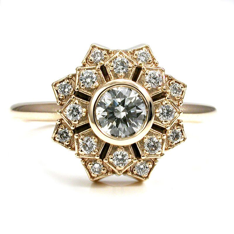 Art deco engagement ring petal double halo 14k yellow gold