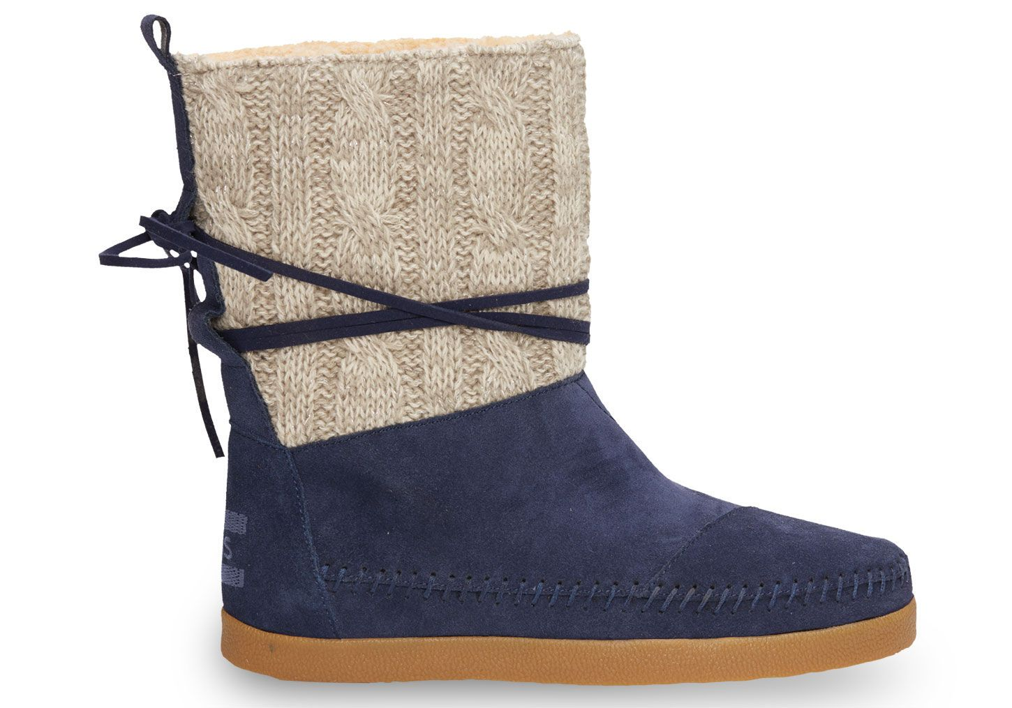 Tom's Navy Cable Knit Suede Women's Nepal Boots