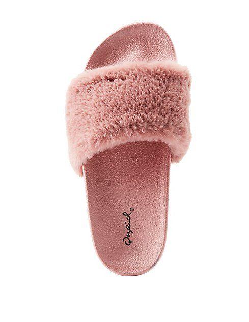12c764090e5 Qupid Faux Fur Slide Sandals