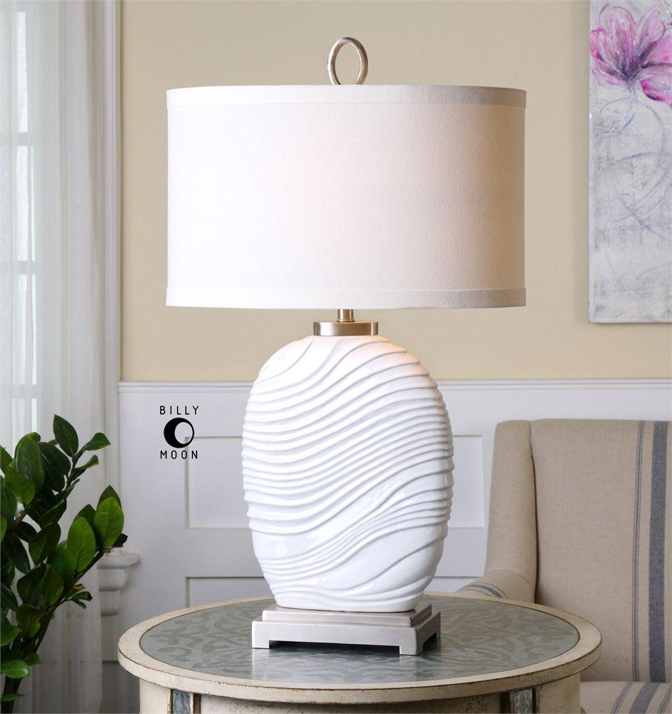 Uttermost Valleve Gloss White Table Lamp White table
