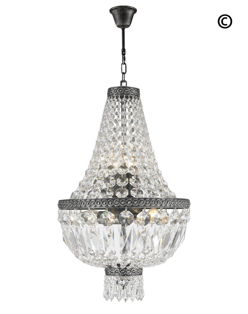 French Basket Crystal Chandelier Anique Silver Finish 5 Lights Exclusive To Designer