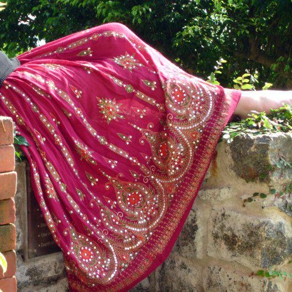 Gypsy Skirt Flowy Maxi Skirt in Red Wine