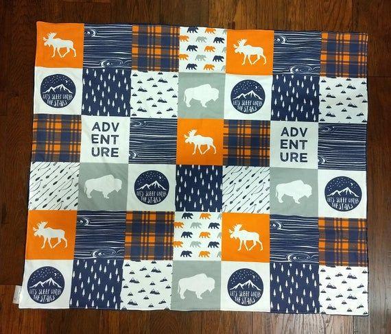 Baby Boy Minky Blanket- Woodland Moose Bear Buffalo Plaid Lodge Navy Orange Gray baby boy blanket ba #babyboyblankets