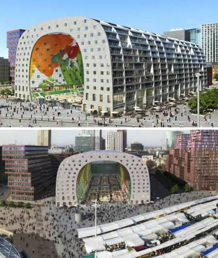 Rotterdam, The Netherlands, construction on the huge tunnel-shaped market hall will flash images of gigantic fresh fruits and vegs via LCD screens on the inside and be lined with balconied apartments .