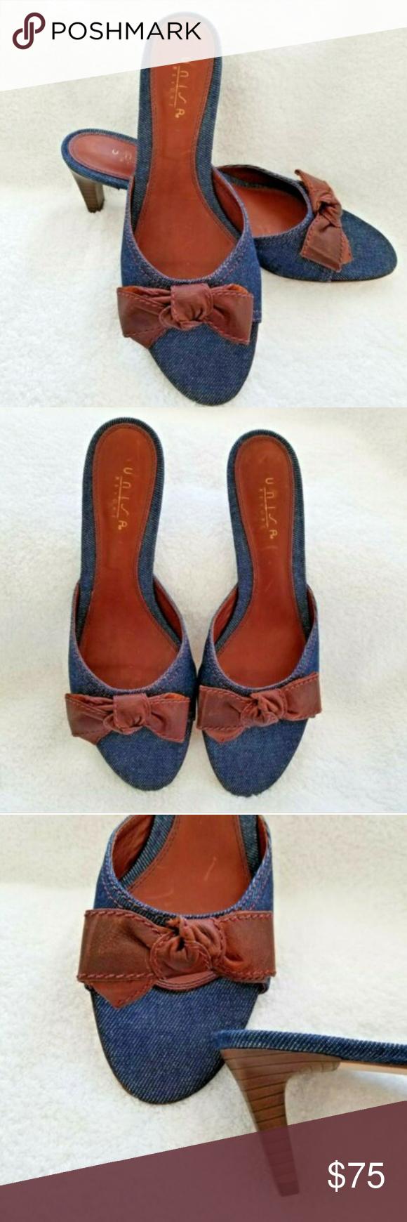 2dcd462752a3 New Unisa Denim Kitten Mule Caramel Bow Sandal 9.5 New Unisa Resort Kitten  Wooden Heeled Denim