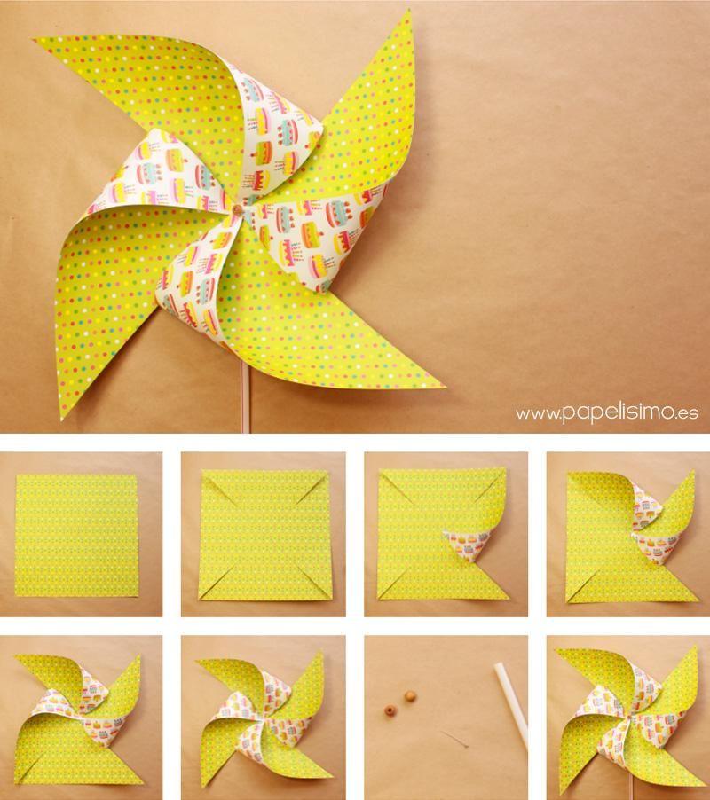C mo hacer molinillo de papel paso a paso aprender - Como hacer manualidades de papel ...