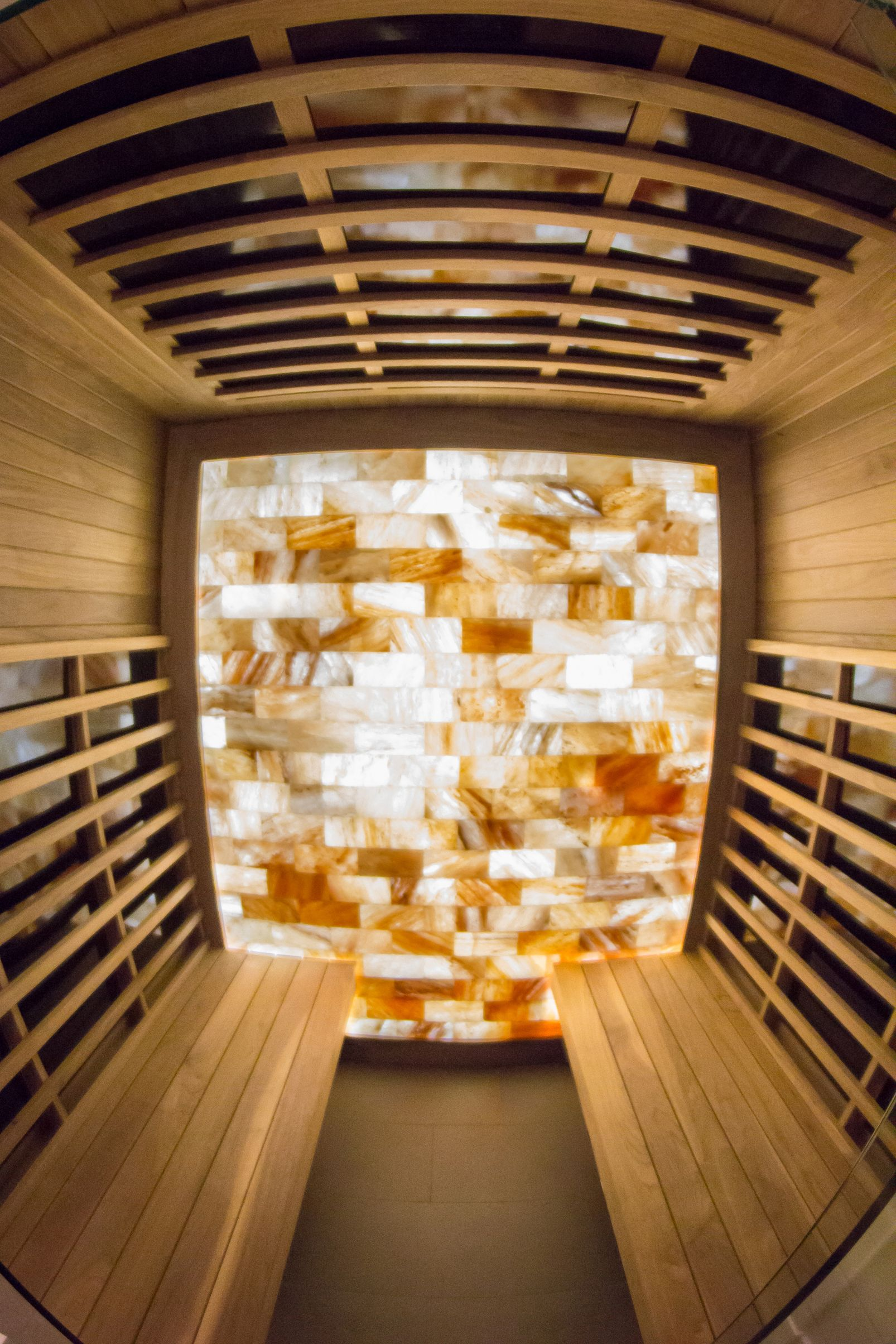 A stunning in home custom built sauna by our craftsman at