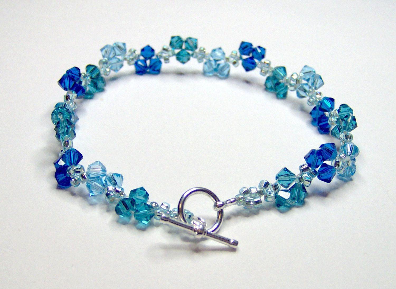 Blue Sky Blue Bracelet, swarovski bracelet, blue bracelet, bicone ...