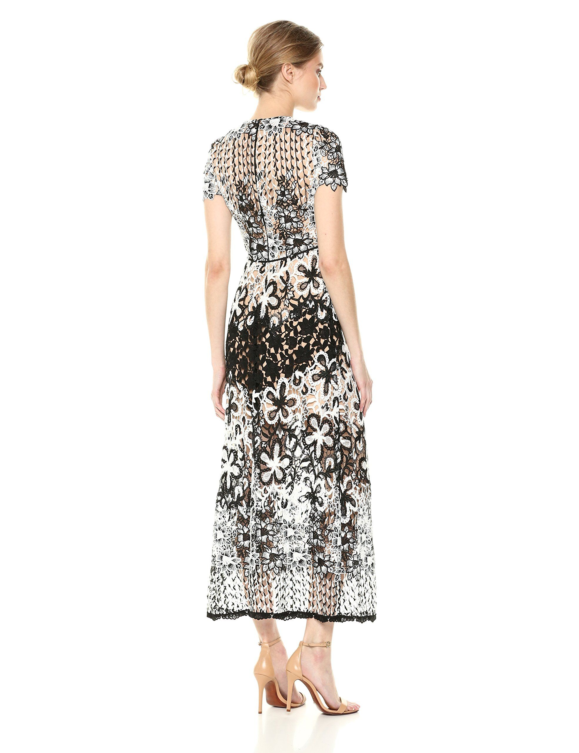 ae290238ecd ML Monique Lhuillier Womens Mixed Lace Midi Cocktail Dress Black White 2      You can find out more details at the link of the image-affiliate link.   dresses