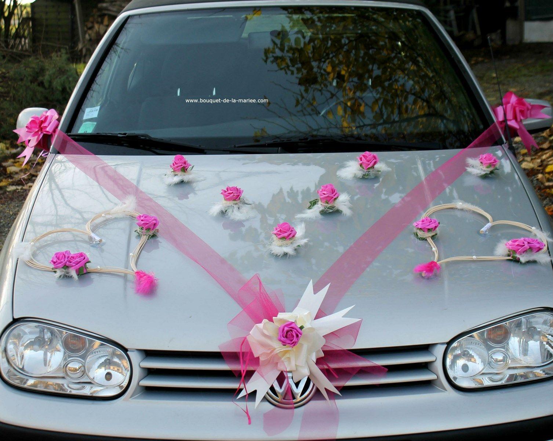 d coration voiture mariage orchid es et c urs gris et rose. Black Bedroom Furniture Sets. Home Design Ideas