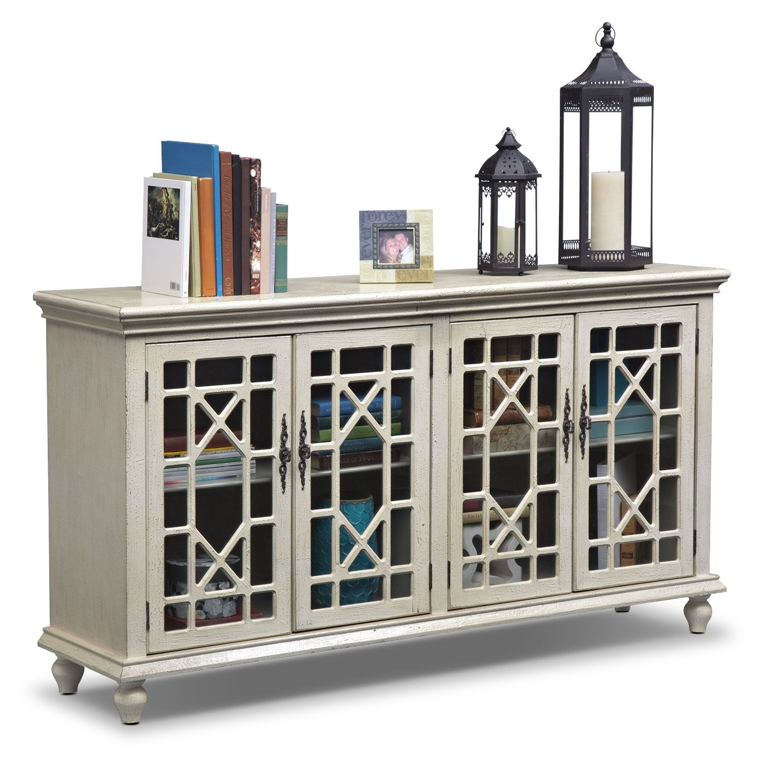 Make A Statement With The Distressed Ivory Grenoble Media Credenza.