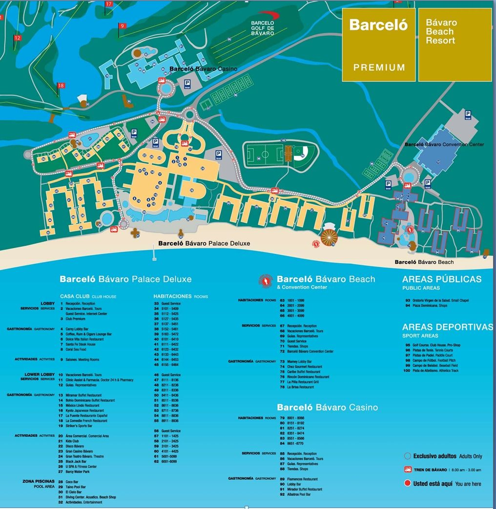 Map Of Barcelo Bavaro Palace Deluxe Punta Cana