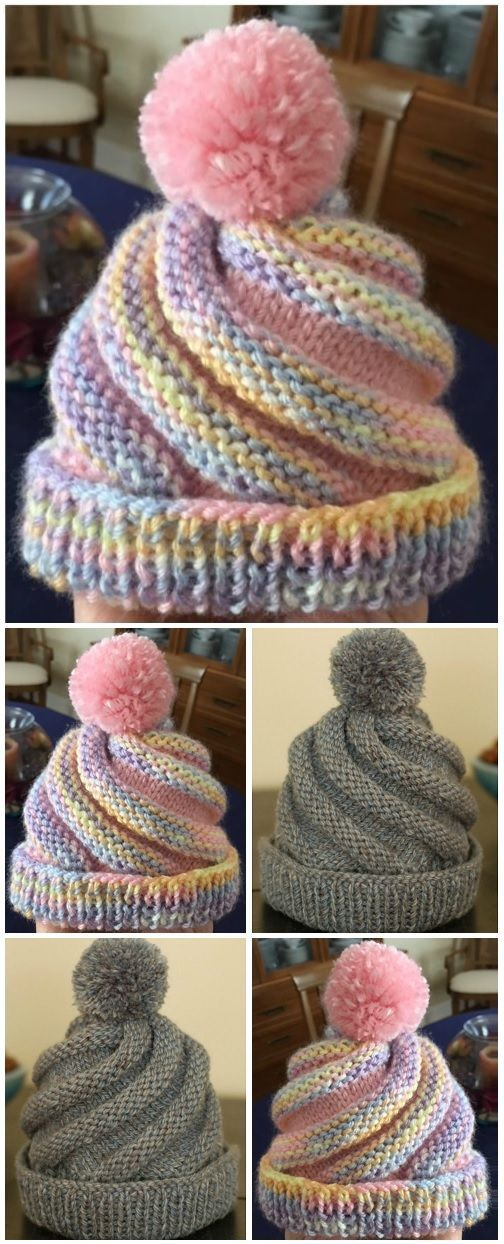 SWIRLED HAT FREE MUSTER -  3,5 Unzen. 4-lagiges Kammgarn, Hauptfarbe 3,5 oz. 4-lagiges Kammgarn, Kontrastfarbe Größe 8 Stric - #BabyKnits #Crocheting #Free #Hat #Knitting #KnittingAndCrocheting #KnittingPatterns #muster #SewingRooms #swirled #crochetstitchespatterns