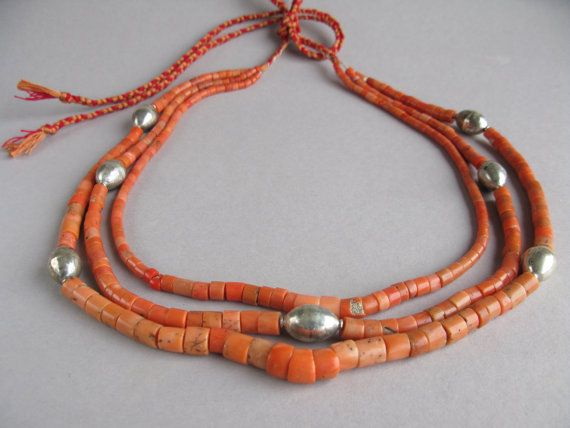 antique traditional ukrainian necklace coral necklace coral beads with silver multi strand necklaces