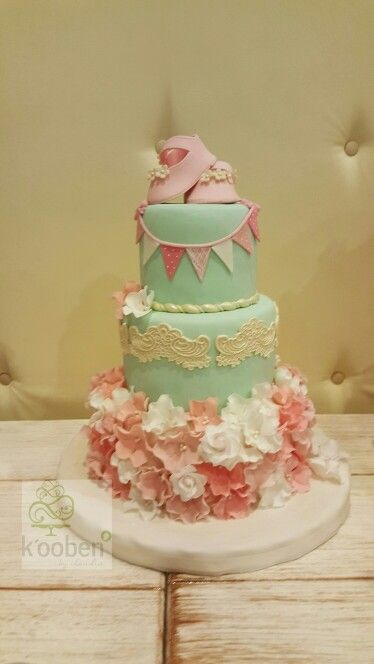 shabby chic baby shower cakes