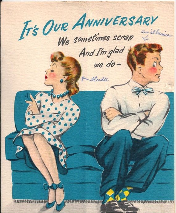 Vintage Anniversary Greeting Card With Angry Fighting Couple We