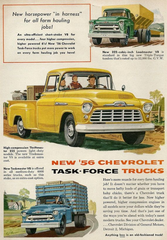 Vintage Truck Ad 1956 Chevy Task Force 1950s Farm Chevrolet By General Motors Wall Decor Via Etsy Vintage Trucks Chevy Trucks Chevrolet Trucks