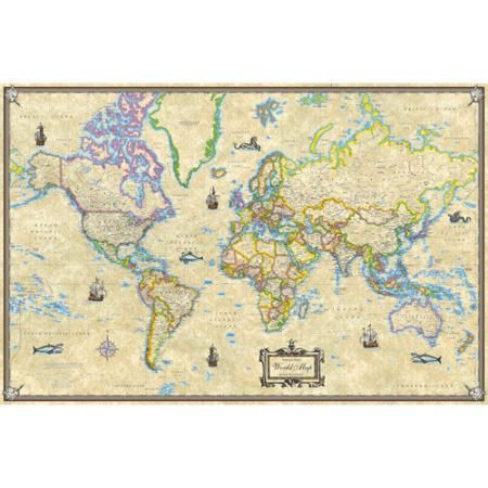universal map antique style world laminated rolled map on laminated wall maps id=42231