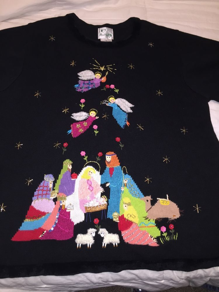 Ugly Christmas Sweater Baby Jesus Nativity Scene Angels North Star 2