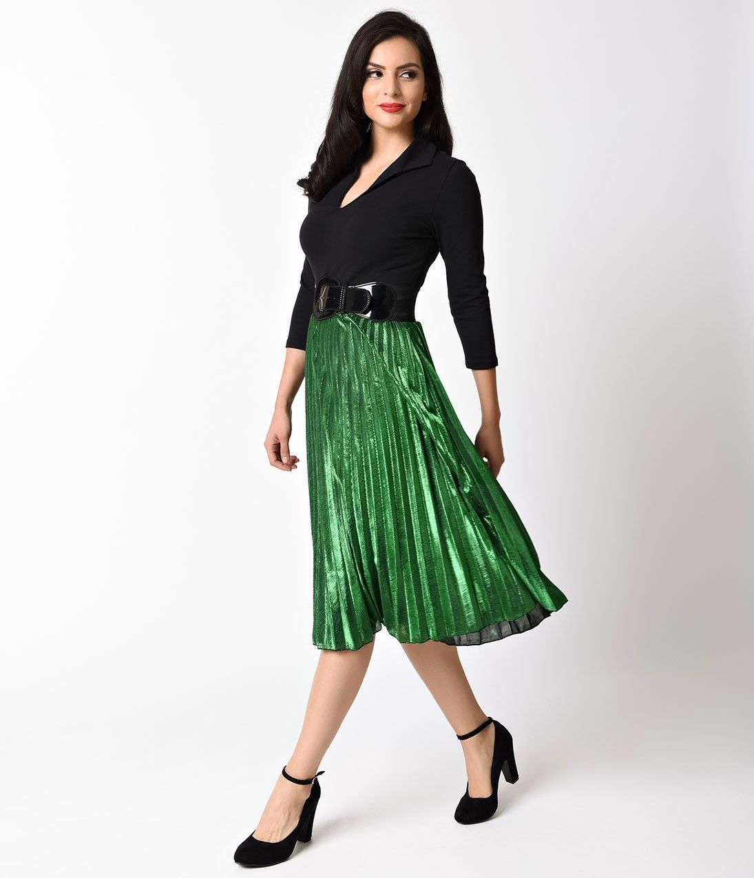 Retro Style Green Metallic Pleated Midi Skirt